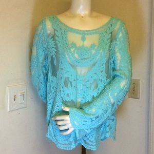 Tops - NWOT TURQUOISE LACE TOP